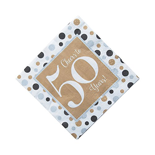 (Fun Express - Cheers To 50 Years Lunch Napkins (16pc) for Birthday - Party Supplies - Print Tableware - Print Napkins - Birthday - 16 Pieces)