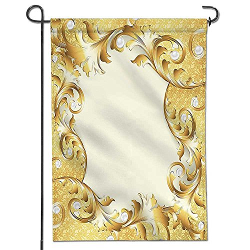 Flowers Welcome Garden Flag Pearls Decoration Illustration of a Frame with Ornaments and Pearls Baroque Style Floral Patterns Cream Golden Outdoor & Indoor Decorative Double Sided Flag 12