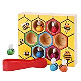 Kingtree Wooden Bee Picking Toy Lovely Bee Hive Toys Toddler Preschool Catching Practices Baby Early Educational Montessori Game Motor Skills Beehive Box