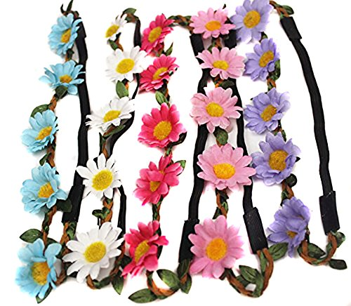 5 Pcs Women Lady Girl's Bohemian Boho Style Daisy Flower Floral Crown Headband Garland Halo Hair Band For Festival Party Wedding - Random Color -
