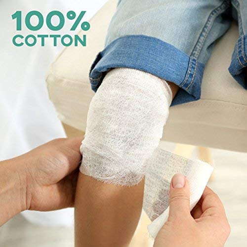 6-Pack Sterile Gauze Medical Bandage Wrap Rolls - 100% Cushioned Cotton - Latex Free - FDA Approved - Hospital Grade Quality - Super Absorbent & Resistant - for Primary or Secondary Dressing - 4-Yard