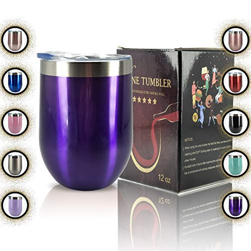 (YIIOJUU Insulated Stemless Wine Tumbler with Lid Spill Proof Stainless Steel, 12 oz Double Wall Vacuum Insulated Glass Travel Tumbler Mug for Keeping the Red Wine and Coffee Cold or Hot, Bright Purple)