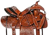 AceRugs 14 15 16 17 18 Pleasure Trail Western Barrel Racer Leather Horse Saddle Hand Tooled Headstall REINS Breast Collar