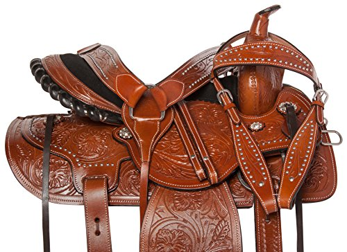 (AceRugs 14 15 16 17 18 Pleasure Trail Western Barrel Racer Leather Horse Saddle Hand Tooled Headstall REINS Breast Collar (16))