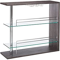 Rectangular 2-shelf Bar Unit with Wine Holder Weathered Grey, Chrome and Clear