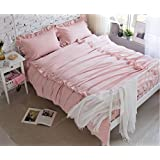 BEIRU Cotton Washed Cotton Four-piece Home Textiles Process Bed Sheets Cotton Bedding Supplies ZXCV (Color : Pink, Size : 200230cm)