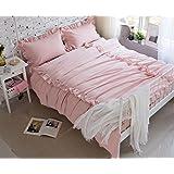 BEIRU Cotton Washed Cotton Four-piece Home Textiles Process Bed Sheets Cotton Bedding Supplies ZXCV (Color : Pink, Size : 200230cm)