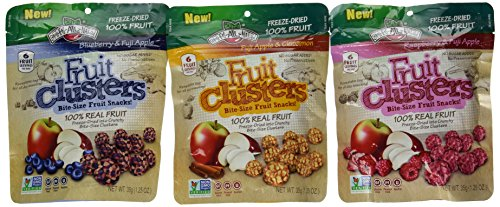 Brothers-ALL-Natural Freeze Dried Fruit Clusters Bite-Size Fruit Snacks 3 Flavor Variety Bundle: (1) Brothers-ALL-Natural Blueberry & Fuji Apple Clusters, (1) Brothers-ALL-Natural Fuji Apple & Cinnamon Clusters, and (1) Brothers-ALL-Natural Raspberry & Fuji Apple, 1.25 Oz. Ea. (3 Bags Total) (Is All Fruit Kosher)