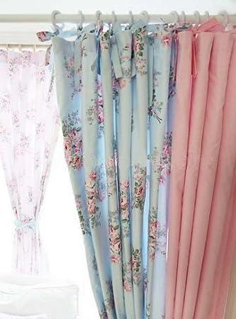 カーテン アンティーク風水色の背景にピンクバラ模様とピンクのギンガム模様と