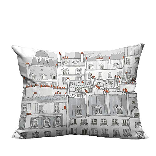 Ali Ro Silk - YouXianHome Home Decor Pillowcase View Ro Attics Cityscape European Style Buildings Grey Orange Durable Polyester Fabric(Double-Sided Printing) 19.5x26 inch