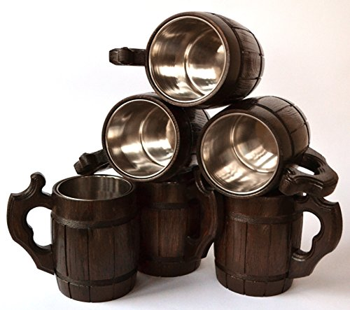 Handmade Beer Mug Set of 6 Wood Natural Stainless Steel Cup Men Gift Eco-Friendly Barrel Souvenir Round Brown by MyFancyCraft (Image #1)