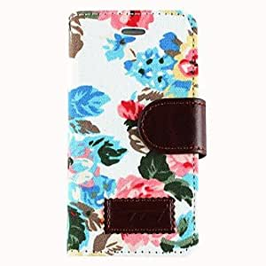 JJEFabric Roses PU Leather Protective Full Body Case with Card Slot and Stand for iPhone 5/5S (Assorted Colors) , White