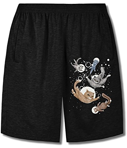 Price comparison product image HappyAnimal Men Five Watercolor Cats in the Water Shorts For mens black