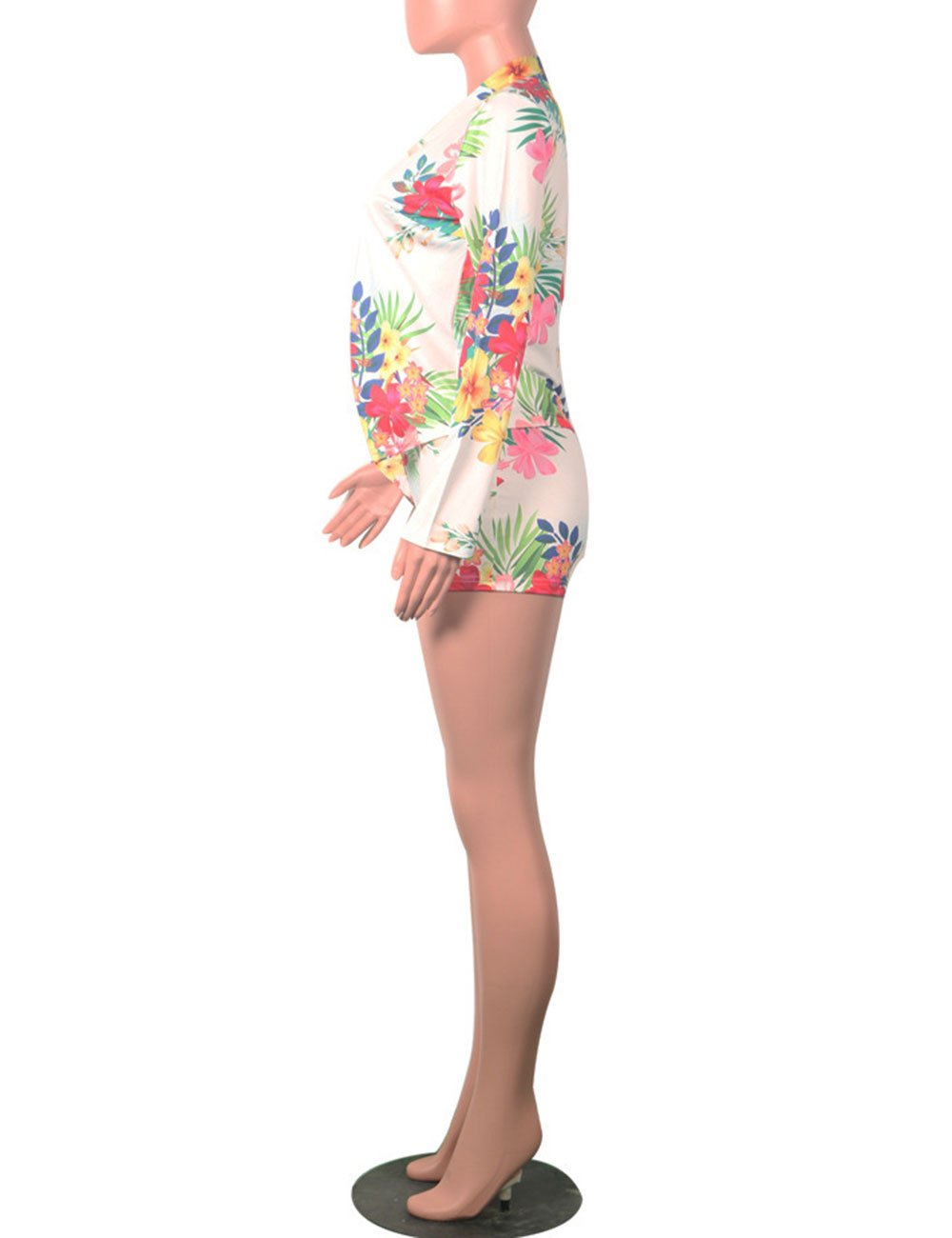 Women Floral Print Casual Two Pieces Suit Set Long Sleeve Blazer Shorts Outfit M by Angsuttc (Image #4)