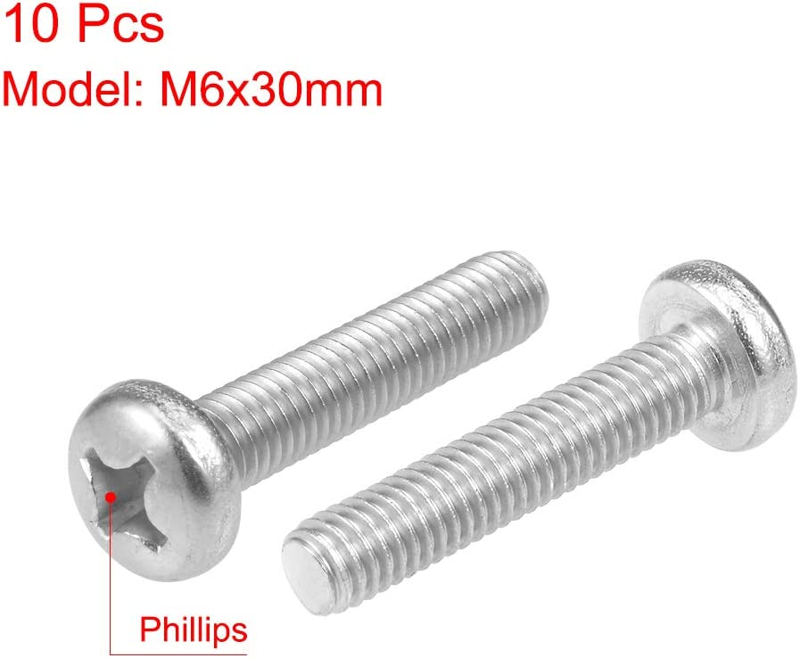 uxcell M6x30mm Machine Screws Pan Phillips Cross Head Screw 304 Stainless Steel Fasteners Bolts 10Pcs