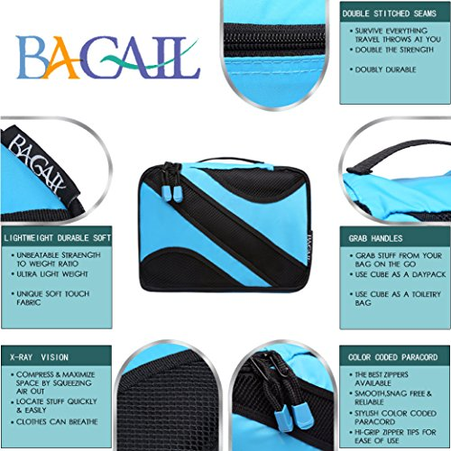 6 Set Packing Cubes,3 Various Sizes Travel Luggage Packing Organizers Blue by BAGAIL (Image #4)