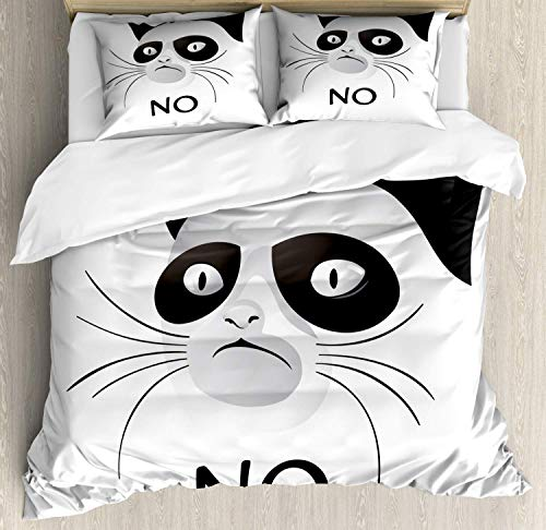 (Animal Bedding Duvet Cover Set, Cat Face Portrait Says No Grumpy Social Character Kitty Domestic Artful Image, Decorative 3 Piece Bedding Set with 2 Pillow Shams, Black and White)