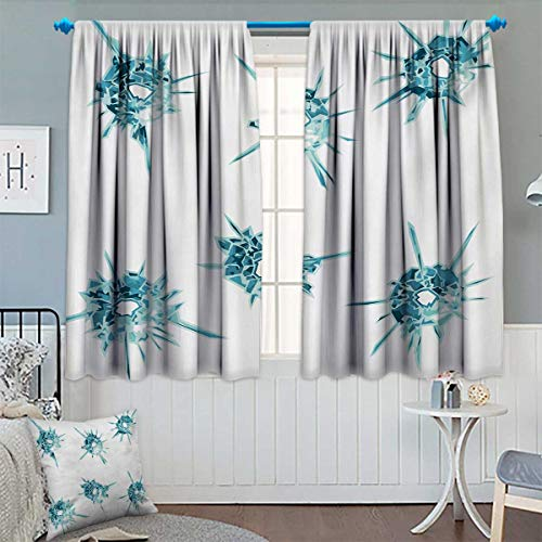 Clear Astoria Crystal (Modern Patterned Drape for Glass Door Alluring Charming Gems Crystal Like Diamonds with Spike Like Image Print Waterproof Window Curtain 63