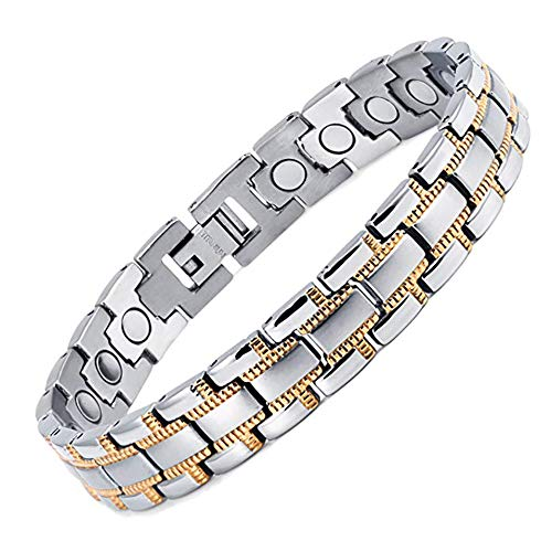 ZSML Magnetic Therapy Bracelets Mens Womens Titanium Magnetic Bracelet Bangle with Silver Gold Plated in Gift Bag+Free Removal Tool
