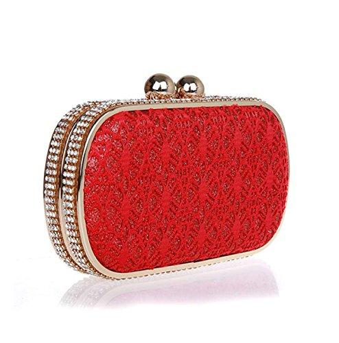 GSHGA Vestidos Diamantes De Imitación Bolsos De Noche Bolsos Bolsos De Hombro De Encaje Bolsos De Embrague,Gold Red