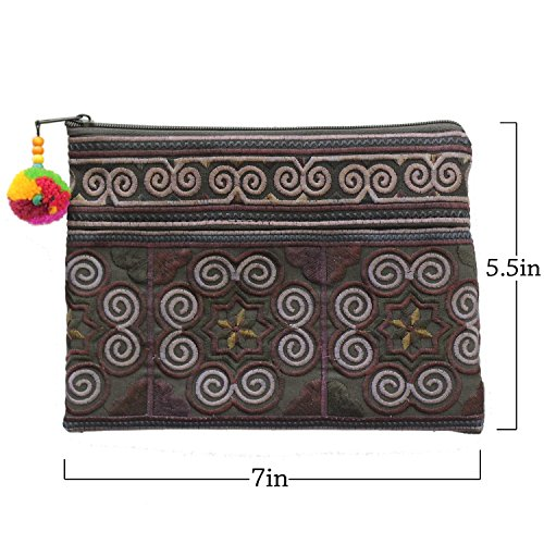 Sabai Jai Handmade Cosmetic Makeup Pen Coin Pouch Embroidered Boho Clutch Handbag Purse (Black) by Sabai Jai (Image #4)