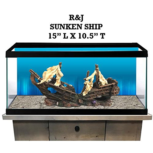 R&J Enterprises Sunken Treasure Ship Aquarium Decoration, Large, Assorted -