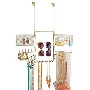 InterDesign Classico Over the Door Fashion Jewelry Organizer for Rings, Earrings, Bracelets, Necklaces - Over Door, Pearl Brass