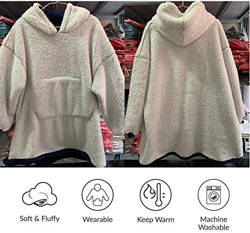 Übergroße TV-Decke Kuscheldecke Ultraweiche Leopard Hoodie Sweatshirt Ganzkörperdecke Mit Ärmeln Und Taschen