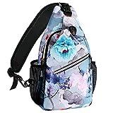 MOSISO Sling Backpack, Multipurpose Crossbody Shoulder Bag Travel Hiking Daypack, Ink-wash Painting