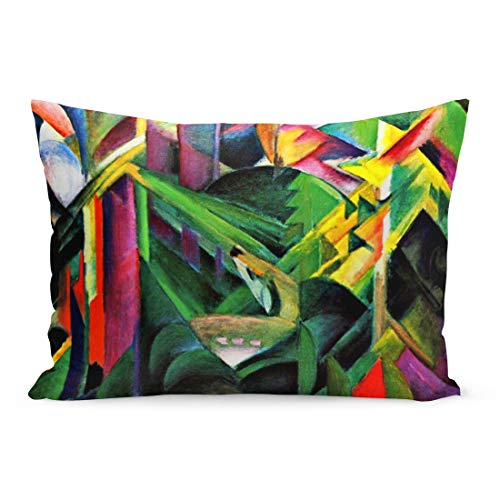 (Aikul Throw Pillow Covers Colorful Painting Franz Marc Deer in Monastery Garden Cubism Pillow Case Cushion Cover Lumbar Pillowcase Decoration for Couch Sofa Bed Car,20 x 30 inchs )
