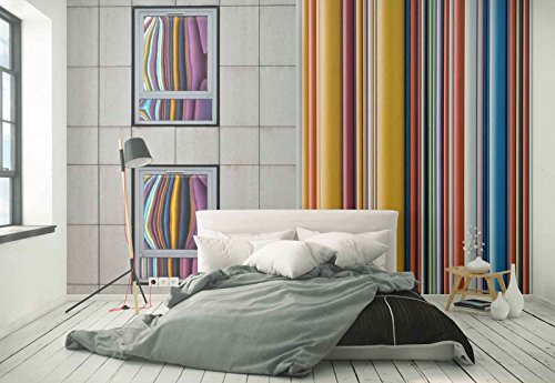 Photo wallpaper wall mural - Bathroom Tiles Curtain Striped Mirror - Theme Architecture - XXL - 13ft 8in x 9ft 6in (WxH) - 4 Pieces - Printed on 130gsm Non-Woven Paper - 1X-21840VEXXXXL by Fotowalls Photo Wallpaper Murals