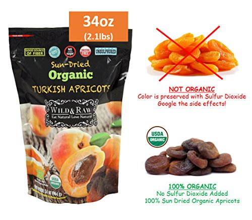 Organic Dried Fruit - ORGANIC TURKISH APRICOTS SULFUR-FREE - BULK SIZE - 2.1lbs (34oz) - Kosher Non-GMO Sun-Dried