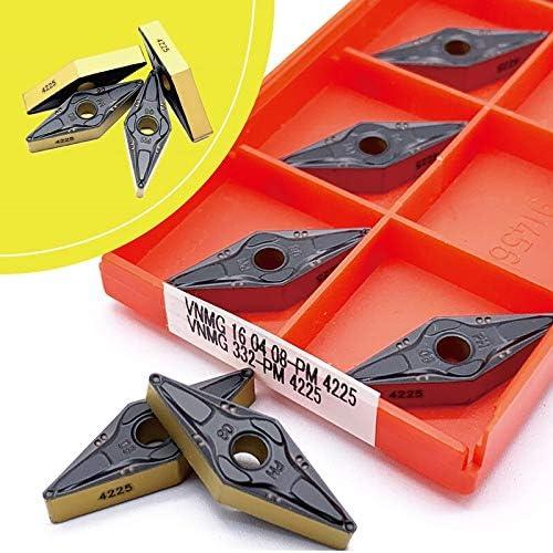 WITHOUT BRAND 10pcs VNMG160404 VNMG160408 PM 4225 Cermetsorte Karbid-Einsätze CNC-Drehmaschine Cutter Externe Werkzeuge Drehen (Größe : VNMG160408 PM4225)