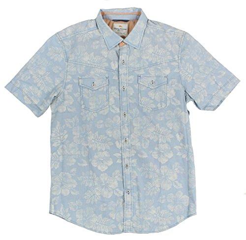 Tommy Bahama Men's Island Modern Fit North Beach Print Shirt Large Blue Grass