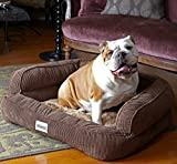 Simmons Memory Foam Dog Bed Sofa Beautyrest in Large – Plush Orthopedic Comfort is Great for Dogs With Arthritis or Joint Problems (Brown) For Sale