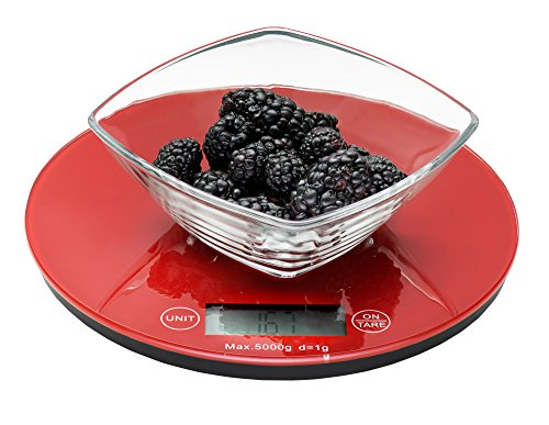 Weigh To Go! Digital Food Scale - Red Digital Kitchen Scale Measures Lb, Oz, Ml and Gram Scale Features Easy Clean Smooth Glass Top, Touch Button Operation, Tare Button and Super Sleek Low Profile