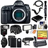 Cheap Canon EOS 5D Mark IV 4K Wi-Fi Digital SLR Camera Body with 128GB CF Card + Battery & Charger + Grip + Case + Flash + LED Light + Mic + Kit