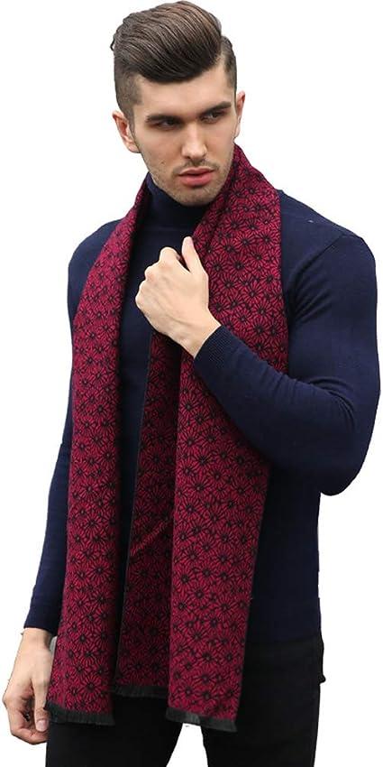Prettystern /Écharpe chaude en soie pour hommes effet velours bross/é