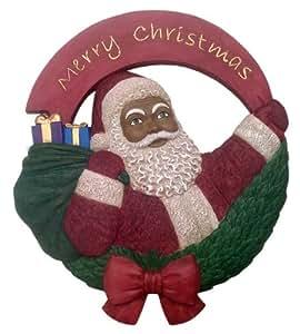 African american christmas santa wall plaque for Christmas wall art amazon