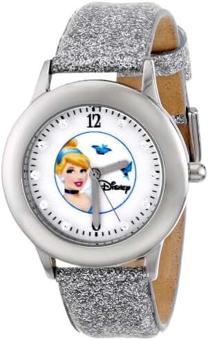 Disney Kids' W000391 Tween Glitz Cinderella Stainless Steel Silver Glitter Leather Strap Watch