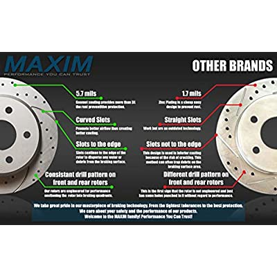 Front and Rear Low Dust Ceramic Pads and Premium Geomet rust protected Drilled and Slotted Brake Rotors MAXJ27366DS | Fits: Civic Coupe Civic Sedan: Automotive