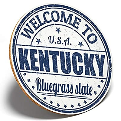 1 x Welcome To Kentucky USA - Round Coaster Kitchen Student Kids Gift #6124
