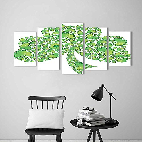 Patterns Trinity (Wall Art for Living Room Decor 5 Piece Set Frameless Collection Irish Shamrock Figure Made with Small Clover Patterns Holy Trinity Symbol Graphic for Home Modern Decoration Print Decor)