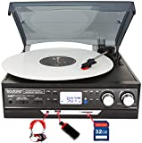 Boytone BT-37B-C Bluetooth 3-Speed Stereo Turntable, Wireless Connect to Devices speaker(Bluetooth out transfer), 2 Built-In Speakers, LCD Display, AM/FM Radio, USB/SD/AUX+ Cas (Certified Refurbished)