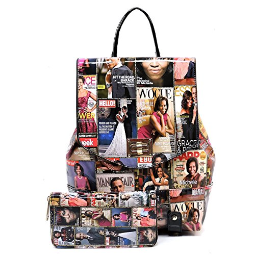 - Obama Magazine Print Collection Flap Backpack + Wallet (Multi)