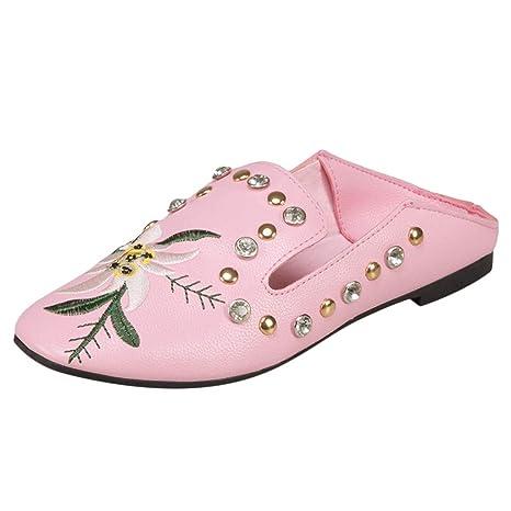 LuckyGirls Zapatos de Mujer Bordado de Flores Remaches Slip On Moda Casuales Zapatos Planos de Fiesta