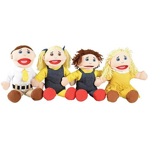 Creative Minds Caucasian 4 pc. Full-Bodied Family Puppet Set Caucasian Family Puppet Set