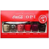 OPI COCA COLA NAIL POLISH COLLECTION - MINI RED PINK PURPLE SPARKLY SILVER VARNISH LACQUER GIFT SET - 6 x 3.75ML BOTTLES