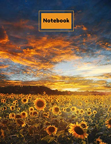 """Notebook: Sunflower Sunset Low Vision Notebook 100 Pages (50 Sheets) - 1/2 Inch Wide Rule - Thick Bold Dark Lines on Bright White Paper - 8.5"""" x 11"""" - ... Seniors, Elderly) Glossy Paperback Cover"""