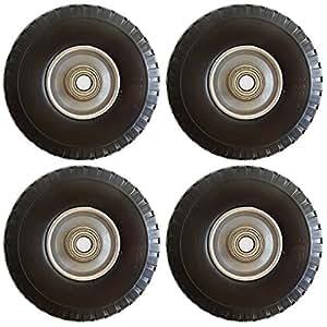 4pieza PU Carretillas de carro de Juego para eje 25mm PU Carretillas de carro de 260mm, llanta de acero para carretilla de rueda con rodamientos